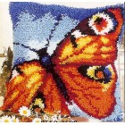 Latch hook cushion kit Orange butterfly