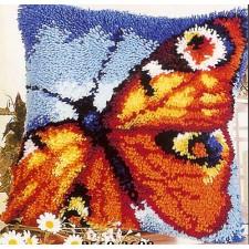 Latch hook cushion kit Orange butterfly