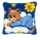 Latch hook cushion kit Blue bear cub on cloud