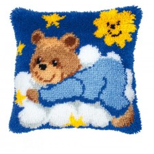 Latch hook cushion kit Blue bear cub on cloud