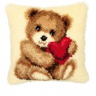 Latch hook cushion kit Bear cub with heart