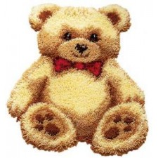 Latch hook shaped rug kit Brown bear with red bow