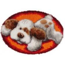 Latch hook shaped rug kit Lying dog