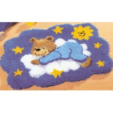 Latch hook shaped rug kit Blue bear on cloud
