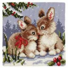 Cross stitch cushion kit Rabbits in the snow