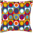 Long stitch cushion kit Varicoloured circles