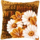 Cross stitch cushion kit Modern daisies