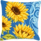 Cross stitch cushion kit Sunflowers on blue