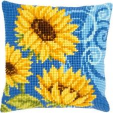 Cross stitch cushion kit Sunflowers on blue