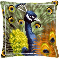 Cross stitch cushion kit Proud peacock