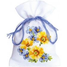 (OP=OP) Potpourri Bag Blue/yellow flowers III aida