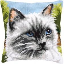 Cross stitch cushion kit Siamese cat