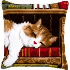 Cross stitch cushion kit Cat sleeping on bookshelf