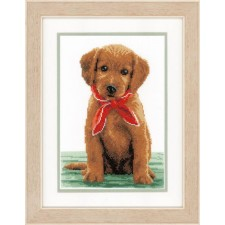 (OP=OP) Counted cross stitch kit Little lab with scarf