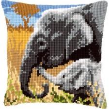 Cross stitch cushion kit Elephant love