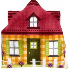 Cross stitch shaped cushion kit Yellow house