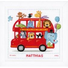 Counted cross stitch kit Safari bus