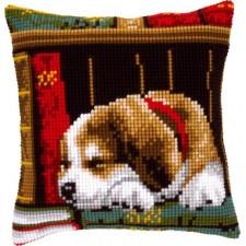 Cross stitch cushion kit Dog sleeping on bookshelf
