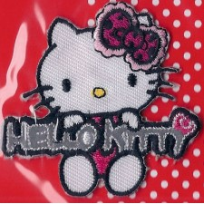 Hello Kitty applicatie roze/rood met naam