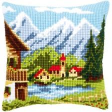 Cross stitch cushion kit Alpine village I