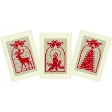 Kerst: Kerstkaarten hert, kaars en kerstboom