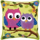 Cross stitch cushion kit Owls on a branch