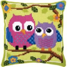 Cross stitch cushion kit Owls on a branch