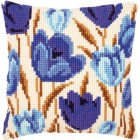 Cross stitch cushion kit Blue tulips