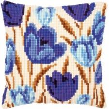 Cross stitch cushion kit Blue tulips
