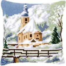 Cross stitch cushion kit Church in the snow