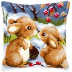 Cross stitch cushion kit Snow rabbits