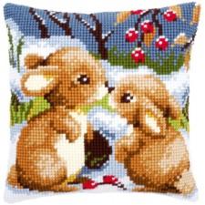 Cross stitch cushion kit Snow rabbits