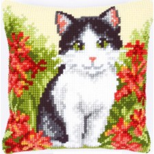 Cross stitch cushion kit Cat in flower field