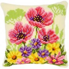 Cross stitch cushion kit Flower field poppies