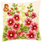 Cross stitch cushion kit Hollyhocks