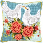 Cross stitch cushion kit Doves in love