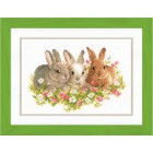Counted cross stitch kit Rabbits in a field