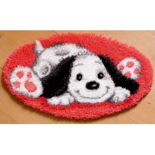 Latch hook shaped rug kit Playful puppy