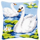 Cross stitch cushion kit Swans