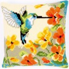 Cross stitch cushion kit Hummingbird with flowers