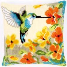 Cross stitch cushion kit Hummingbird with flowers