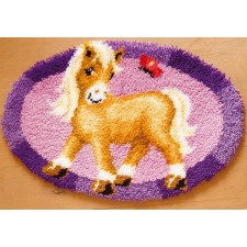 Latch hook shaped rug kit Pony with butterfly