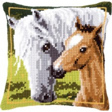 Cross stitch cushion kit White horse and her foal