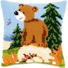 (OP=OP) Cross stitch cushion kit Forest friends on rock