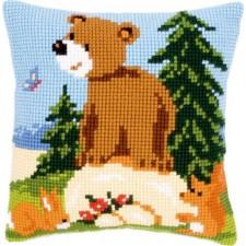 (OP=OP) Cross stitch cushion kit Forest friends on rock