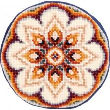 (OP=OP) Round cross stitch cushion kit denim Flower