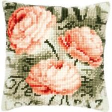 Cross stitch cushion kit Peonies