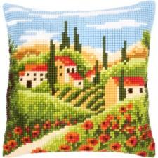 Cross stitch cushion kit Tuscan landscape