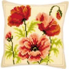 Cross stitch cushion kit Wild poppies