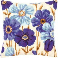 Cross stitch cushion kit Blue anemones